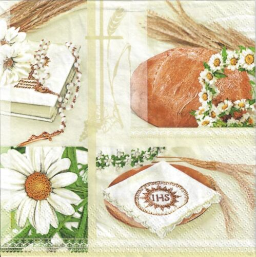 gold  -K17 Komunia First communion IHS 4single paper decoupage napkins