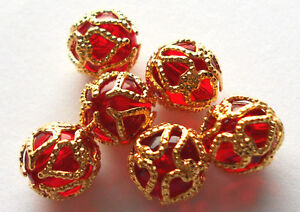 #1017 Vintage Filigree Beads Gold Tone Ruby Red Victorian Bead 9mm Round NOS