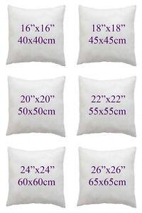 "Cushion Pads Inner Insert Fillers Hollow Fibre 16/""18/""20/""22/""24/""26/"" Pack 1,2,4,6,8"