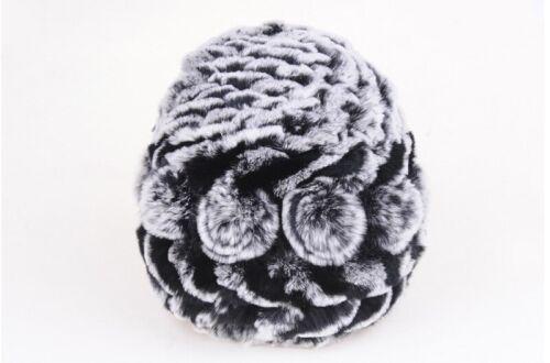 Winter Casual Real Fur Beanies Women Rex Rabbit Fur Hats Striped Fur Knit Lined
