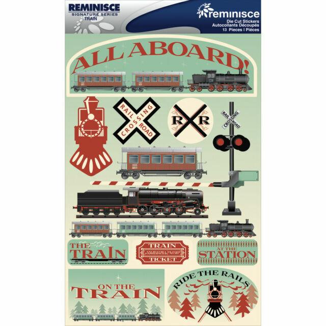 REMINISCE SIGNATURE SERIES TRAINS TRAVEL DIE-CUT CARDSTOCK SCRAPBOOK STICKERS