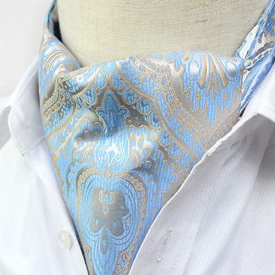 LJ01-17 NEW Blue Khaki Paisley Mens Silk Cravat Ascot Tie Self Tied Ties Scarves