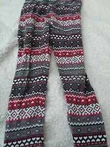 Faded-Glory-Girls-Aztec-Leggings-Red-white-black-Size-S-6-6X