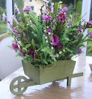 Purple Artificial Meadow Flower Lavender Arrangement Green Wooden Wheelbarrow