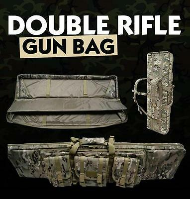 Multicam Double Rifle Bag Shotgun Soft Gun storage Case Padded Hunting Back Pack