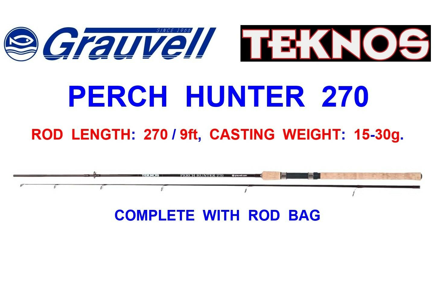 greyVELL TEKNOS 2pc 9ft CARBON PERCH HUNTER ROD COARSE LURE FISHING SPINNING