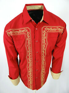 Mens Western Rodeo Cowboy Shirt White with Front Back Floral Embroidery Snap Up