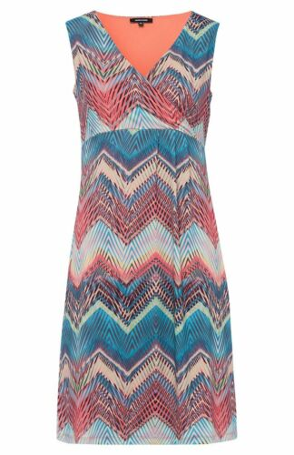 More /& More Damen Chiffon Kleid mit Zick Zack Motiv