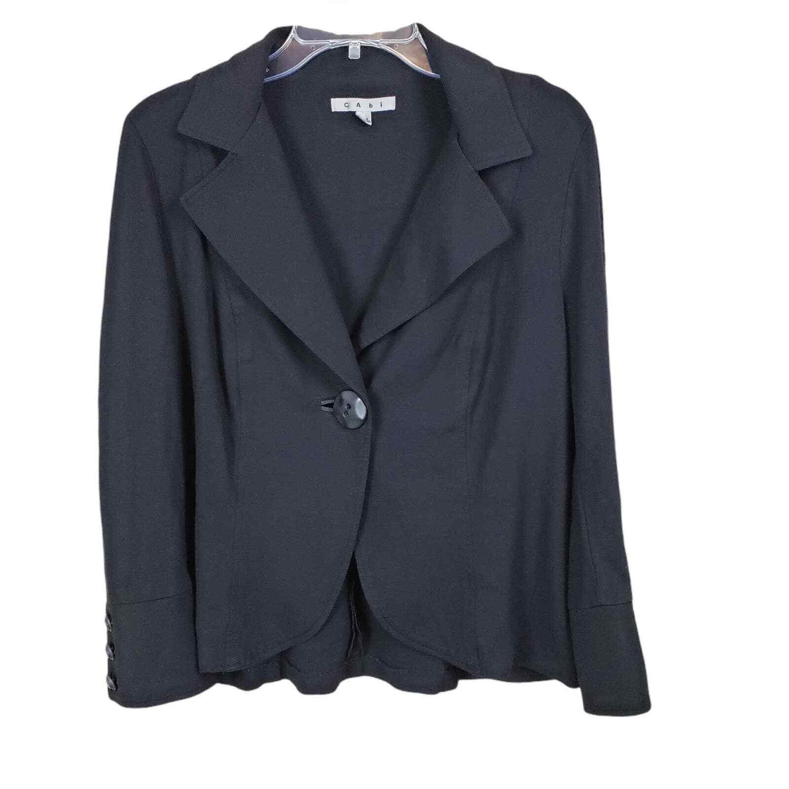 Cabi Women's Black Long Sleeve One Button Collared Jersey Blazer Jacket Size L