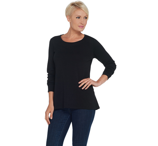 Isaac Mizrahi Live! Essentials Pima Cotton Long Sleeve Knit Top Color Black, XL