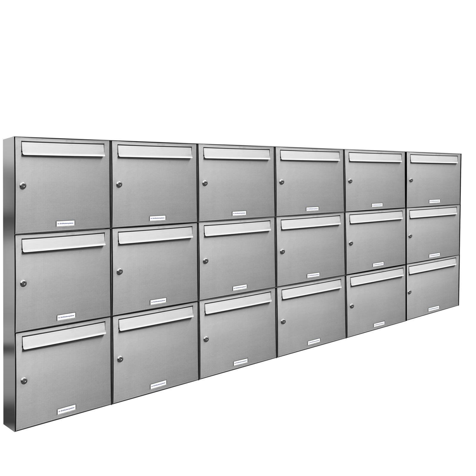 18 er Premium V2A Edelstahl Wand Briefkasten Anlage A4 Postkasten Fach 6x3