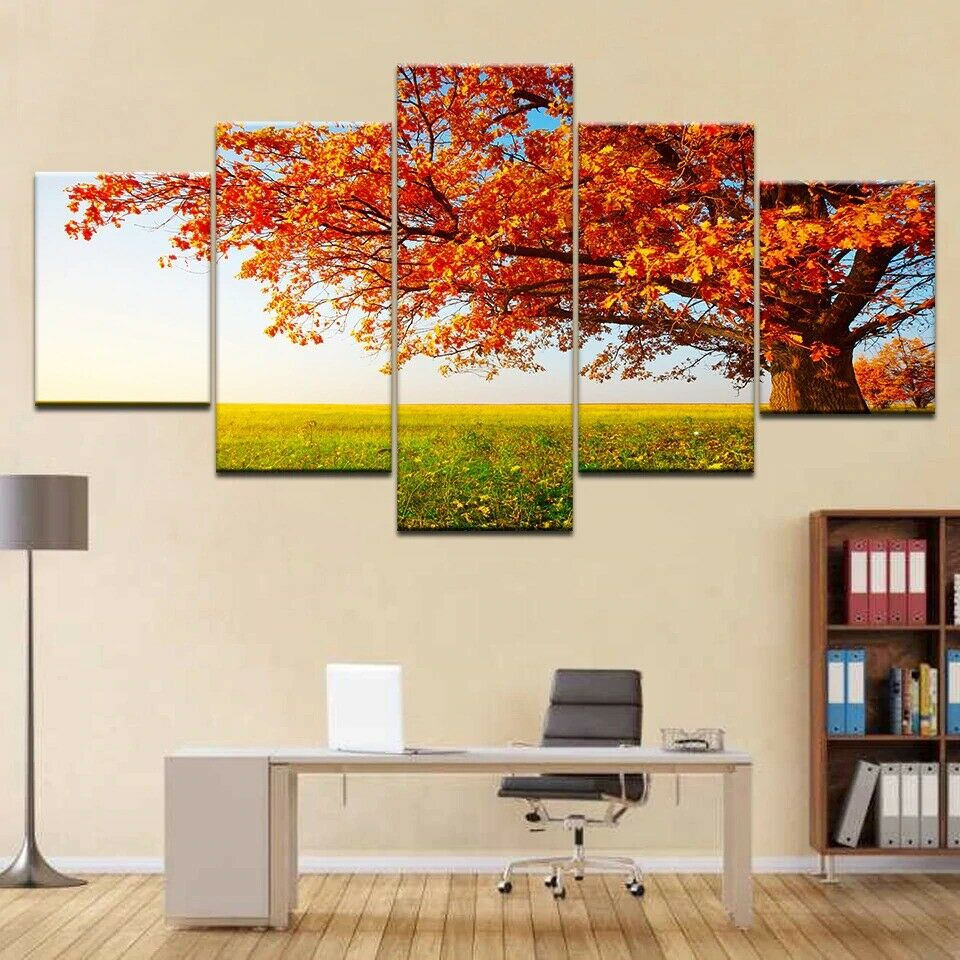 Gelb Leaves Tree Autumn 5 panel canvas Wall Art Home Decor Print Poster