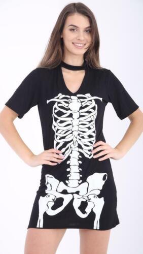 New UK Ladies Women Halloween Skeleton Print Choker Neck T Shirt Dress