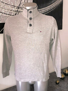 Pretty-Hooded-Sweater-Buttoned-Collar-Grey-tommy-hilfiger-SIZE-S-P-Mint