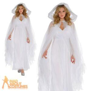 Adult Ghost Grey Temptress Cape Fancy Dress Cloak Witch Zombie Halloween Ladies