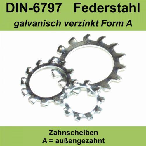 M30 31,0 DIN 6797 Zahnscheiben verzinkte Form A außengezahnte AZ Federstahl f
