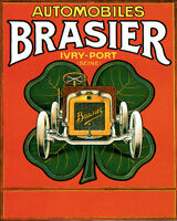 Poster Automobiles Brasier French Car Four Leaf Clover Vintage Repro Free S/h