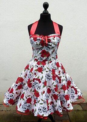 50er Petticoat Rockabilly Party Punk Emo Totenkopf Rosen Halloween Tattoo Kleid