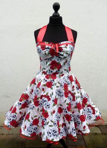 50's Skull Petticoat Punk Dress Rockabilly Party Rose Tattoo Emo Halloween nZ4Wnaxg