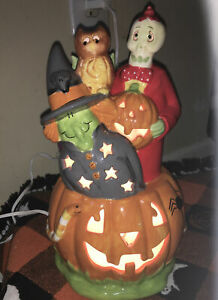 Porcelain-Halloween-Electric-Pumpkin-Light-11-Tall-Lamp-Cord-With-Switch-Glazed