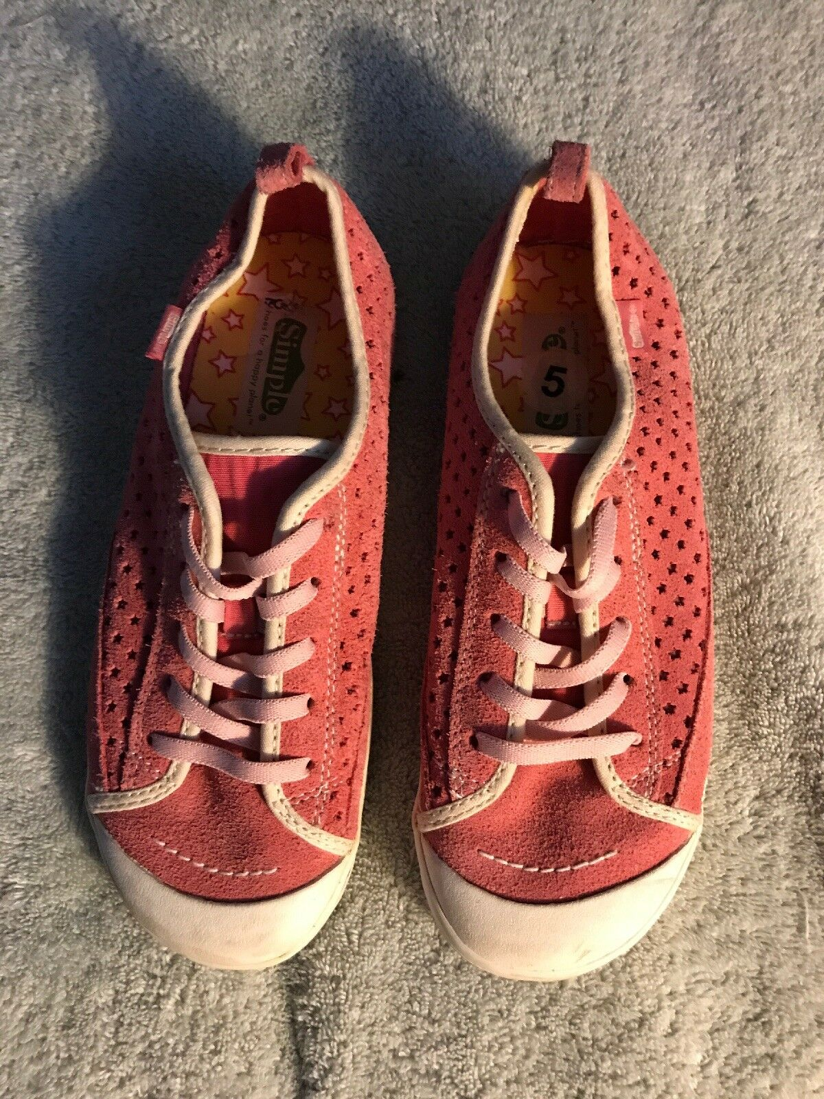 Simple Womens Pink On Suede Tennis Shoes Sneaker Casual Slip On Pink Sz 5 45c928