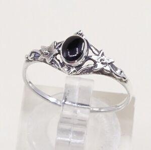 Sz-6-5-Vtg-Sterling-Silver-Handmade-Ring-925-Band-W-Obsidian-N-Bali-Beads