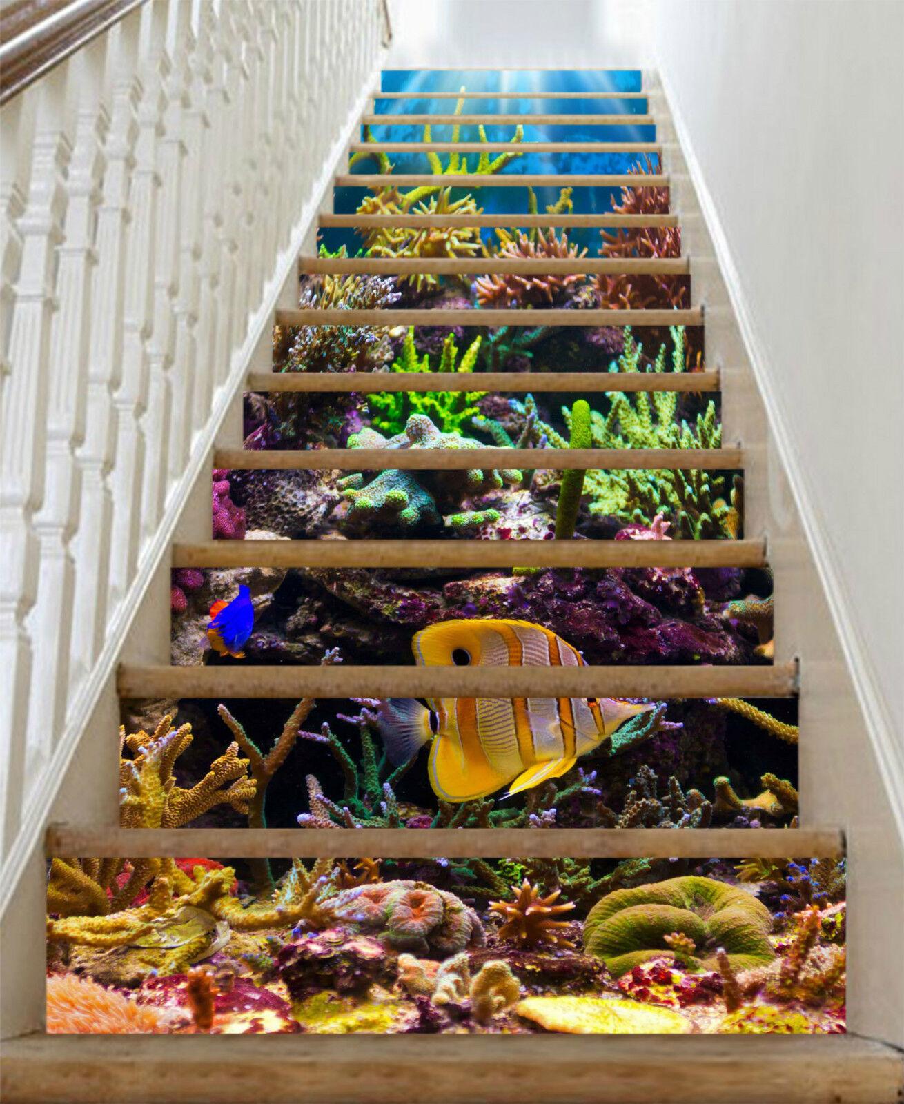 3D Schn Koralle 89 Stair Risers Dekoration Fototapete Vinyl Aufkleber Tapete DE