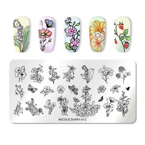 NICOLE-DIARY-Nagel-Schablone-Rectangle-Butterfly-Nail-Stamping-Plates-ND-012