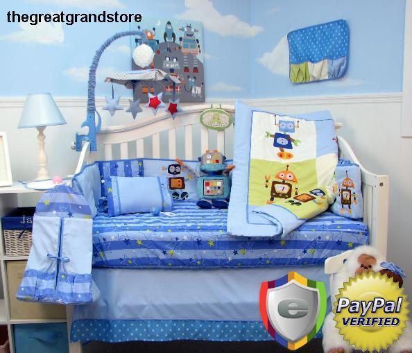 CRIB BEDDING SET ROBOT HERO Infant Baby Boy Nursery Quilt Sheet Total Piece Dust