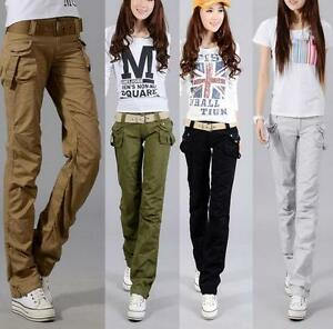 Lady Womens Military Loose Colors Cargo Pocket Pants Leisure Trousers Outdoor