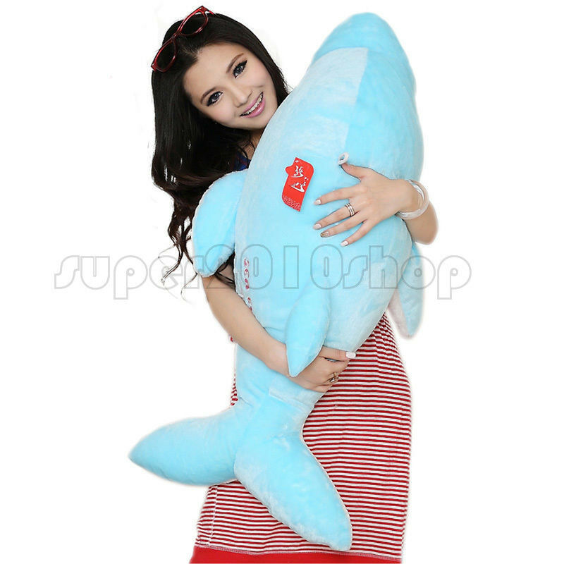 35  bluee Dolphin Stuffed Animal Plush Soft Toys Doll Pillow Cushion gift 90cm