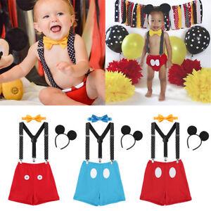 4PCS Baby Boys Cake Smash Photo Mouse Costume One Year 1st Birthday Outfits Set