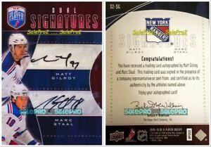 BAP-SIGNATURE-2009-MATT-GILROY-ERIC-STAAL-NHL-NY-RANGERS-DUAL-AUTOGRAPH-S2SG