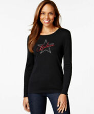Karen Scott Misses Womens Embellished Long Sleeve T-shirt Sz XS Black Red Stars