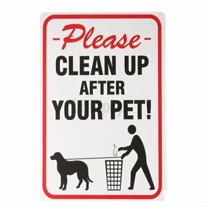 """Please Clean Up After Your Pet Sign 8/"""" x 12/"""" Plastic Dog Poop Pickup Outdoor US"""