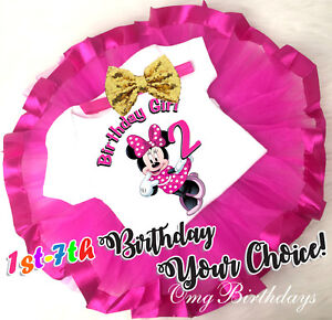 7th Birthday Girl Tutu Outfit Headband Set Hot Pink Minnie Mouse First 1st