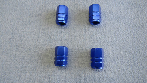 SUBARU BLUE METAL DUST VALVE CAP TYRE WHEEL SOLID HEXAGON COVER
