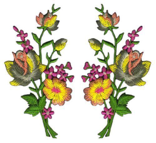 Ad37 Fleurs Set 2 Pièce écusson Bügelbild patch Autruche Patchwork À faire soi-même 5,5 x 11 cm