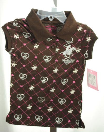 NWT Beverly Hills Polo Club Girls Shirt Brown Button COFFE BEAN size 2T-6T