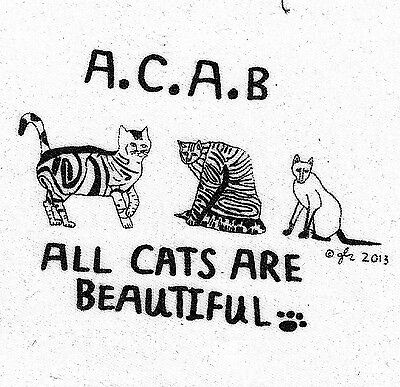 DIY Silkscreen Handmade Cloth Crust Punk Rock Humor Cool ACAB Cats Small Patch