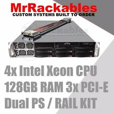 2U Supermicro Server X7QCE 4x Intel Xeon CPU 128GB RAM 3x PCI-E Dual PS, Rails