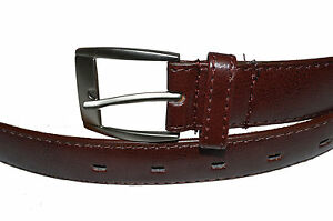 BELT-MENS-BIG-AND-TALL-DRESS-BELT-NEW-BROWN-SIZE-50-034-GENUINE-LEATHER