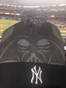 34c7ed469 STAR WARS NIGHT DARTH VADER KNIT CAP NY YANKEES SGA 8/25 STADIUM ...