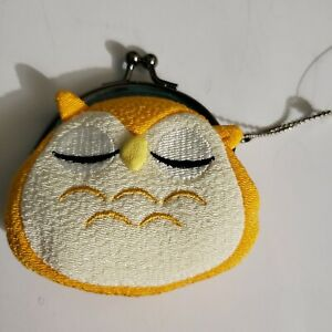 Owl-Coin-Purse-Change-Holder-Pouch-Yellow-Kisslock-Closer-Keychain-Polyester-Eye