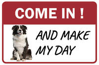 Border Collie Come In And Make My Day Business Store Retail Counter Sign