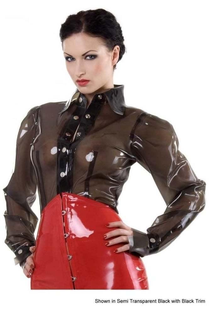 R0968 Rubber Latex Blouse Shirt 14 UK TRANS BLK BLK SECONDS RRP