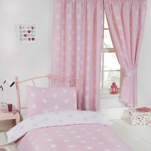 Details About Pink And White Stars Lined Curtains 66 X 72 Kids Bedroom Nursery New