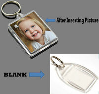 Clear Acrylic Plastic BLANK KEYRINGS Insert - PASSPORT PHOTO SIZE Personalise
