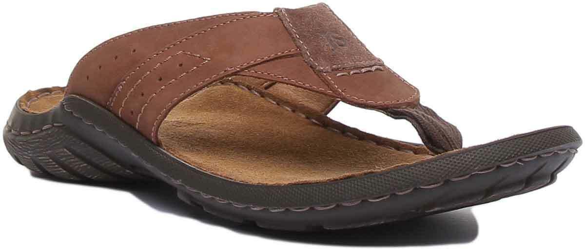 Josef Seibel Logan 62 Mens Leather Sandal In braun Größe 3 - 8