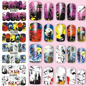 Nail-Art-Stickers-Transfers-Decals-Halloween-Ghosts-Bats-Pumpkins-Skulls-Blood